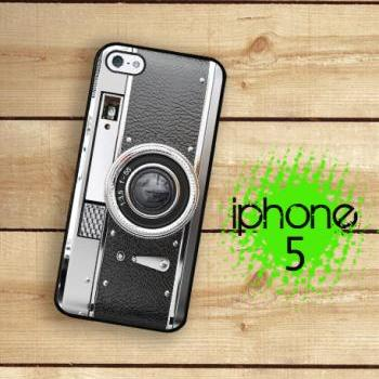 IPhone 5 Case - Black and Silver Camera Vintage Style