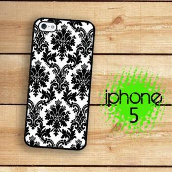 IPhone 5 Case - Black and White Damask Shabby Chic